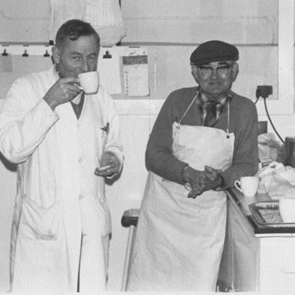 Eric Rodda and Tom Harvey having a tea